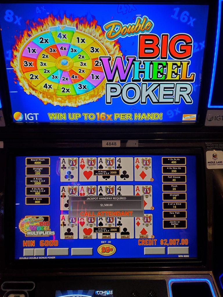 Play Double Big Wheel Poker At Mole Lake Casino In Crandon Wisconsin