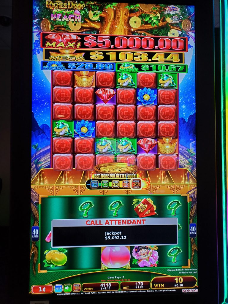 You Can Play Riches Drop Peach at Mole Lake Casino Lodge in Crandon Wisconsin