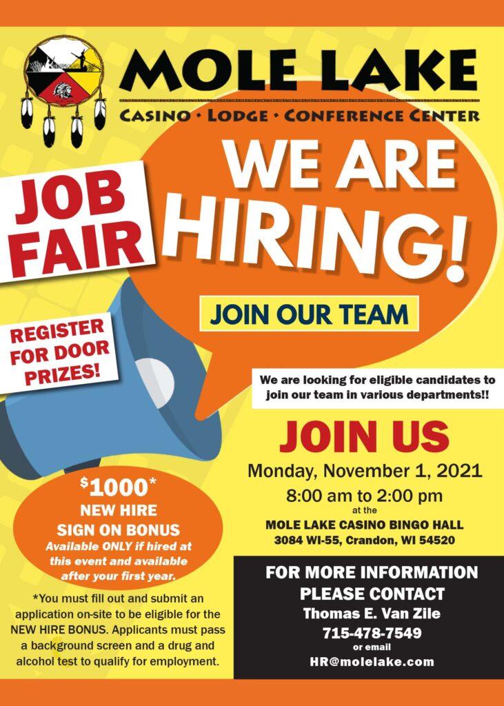 Job Fair Mole Lake Casino 11-1-2021-5x7