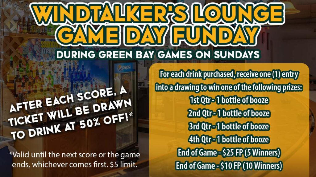 Watch The Green and Gold At Mole Lake Casino In Crandon For Your Chance To Eat, Drink, and Win